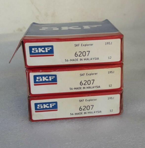 SKF 6207 Radial Deep Groove Ball Bearing 35mm Bore, 72mm OD, 17mm Wide 3pcs.LOT